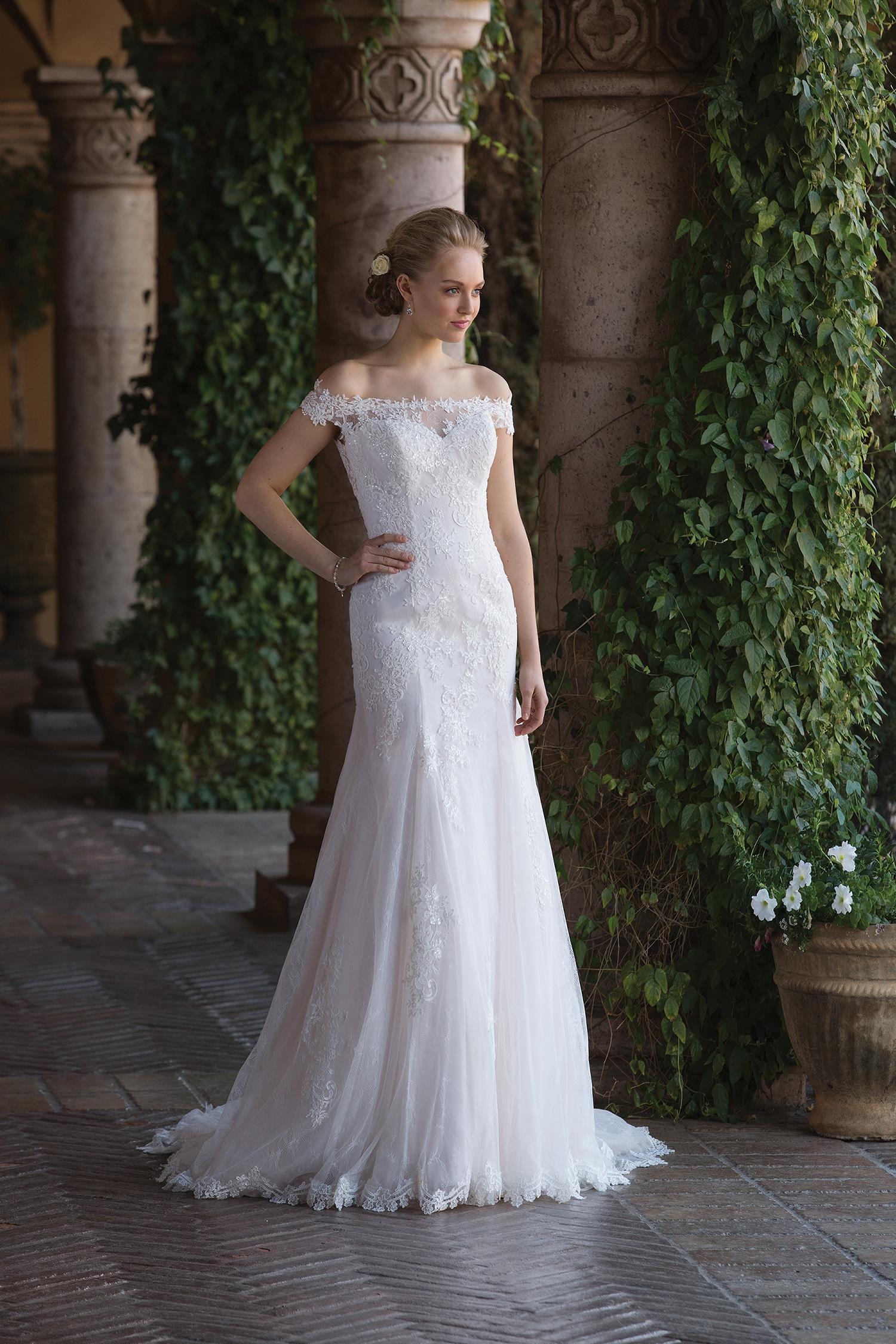 c5bd2f4dc Style No: - 4022 Chantilly lace feels extra romantic in this off the  shoulder fit and flare wedding dress ...