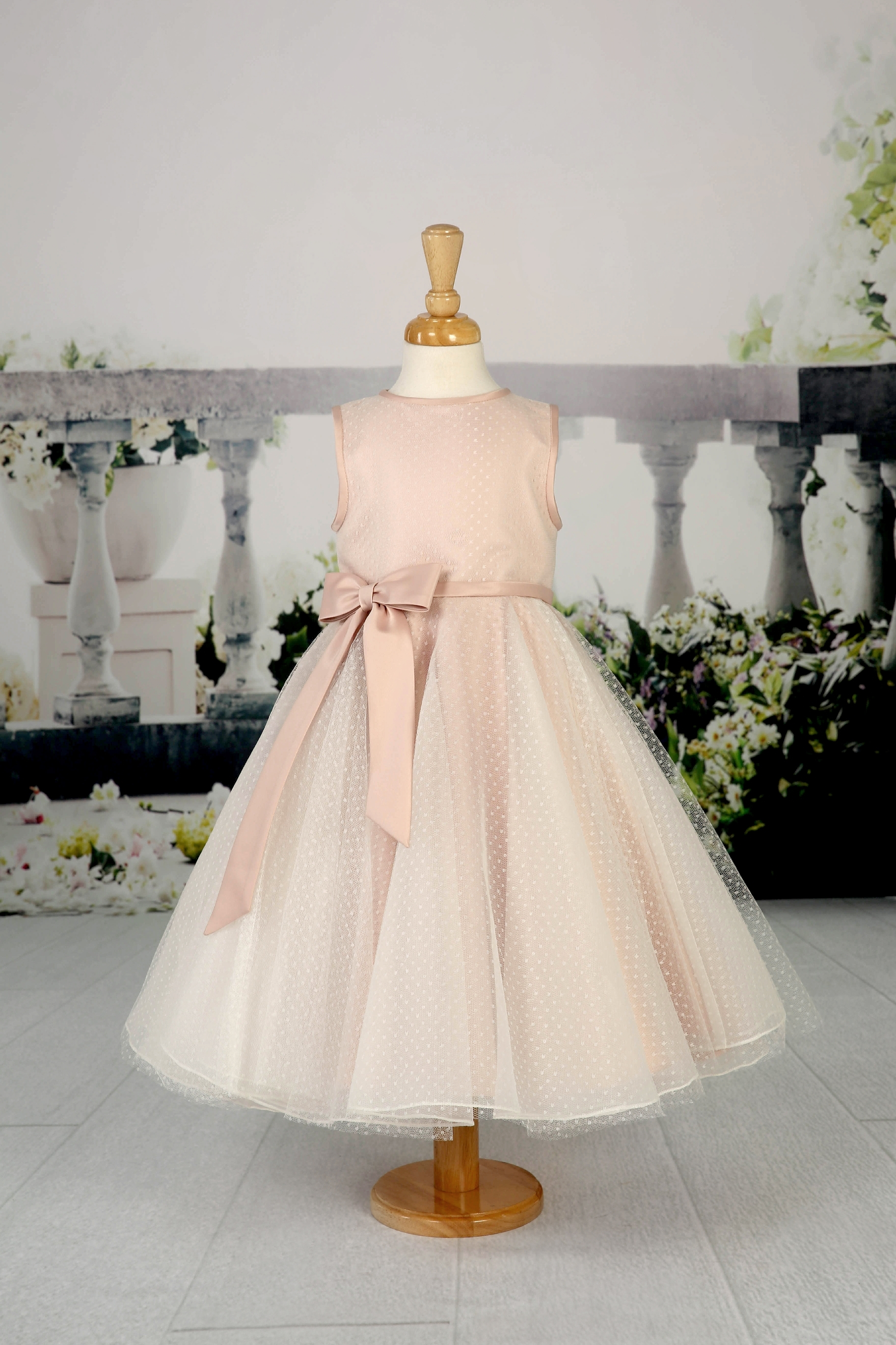 EB12430 - Pretty flowergirl dress with beautiful, spotted tulle overlay and satin waistband and bow