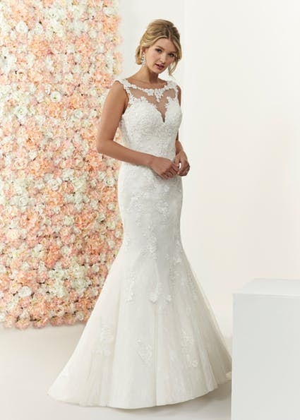 Rachael - Glamorous mermaid style with illusion neckline, sweetheart bodice and an open back finished with a detachable lace and hand beaded back detail