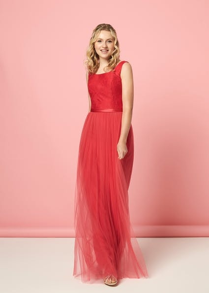 Ethel - Charming A line tulle dress with boatneck and lace bodice