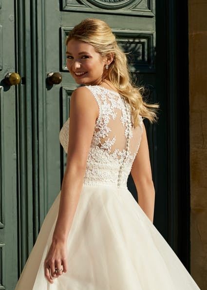 Petula - Pretty tea length gown with lace bodice and shoulder straps, illusion lace back and full tulle skirt