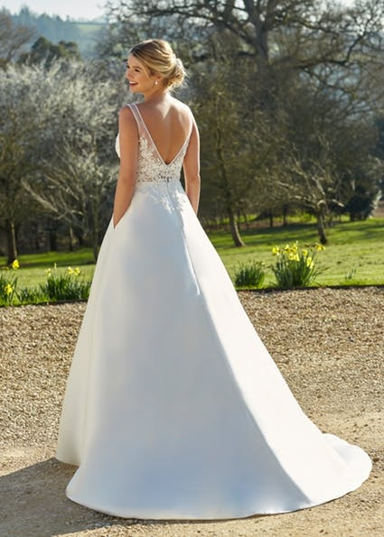 Willa - Chic A-line mikado gown with pockets, illusion lace bodice. Option : - A filled in bodice is available on request