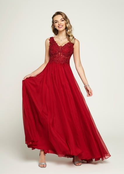 A145 - Flattering A line style with v neckline, lace hand beaded bodice