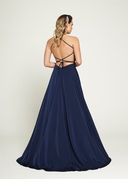 A158 - Gorgeous A line dress with hand beaded high neckline and cross over strap back detail