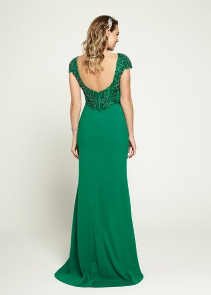 A172 - Mermaid style with capped beaded sleeves and a scoop beaded back