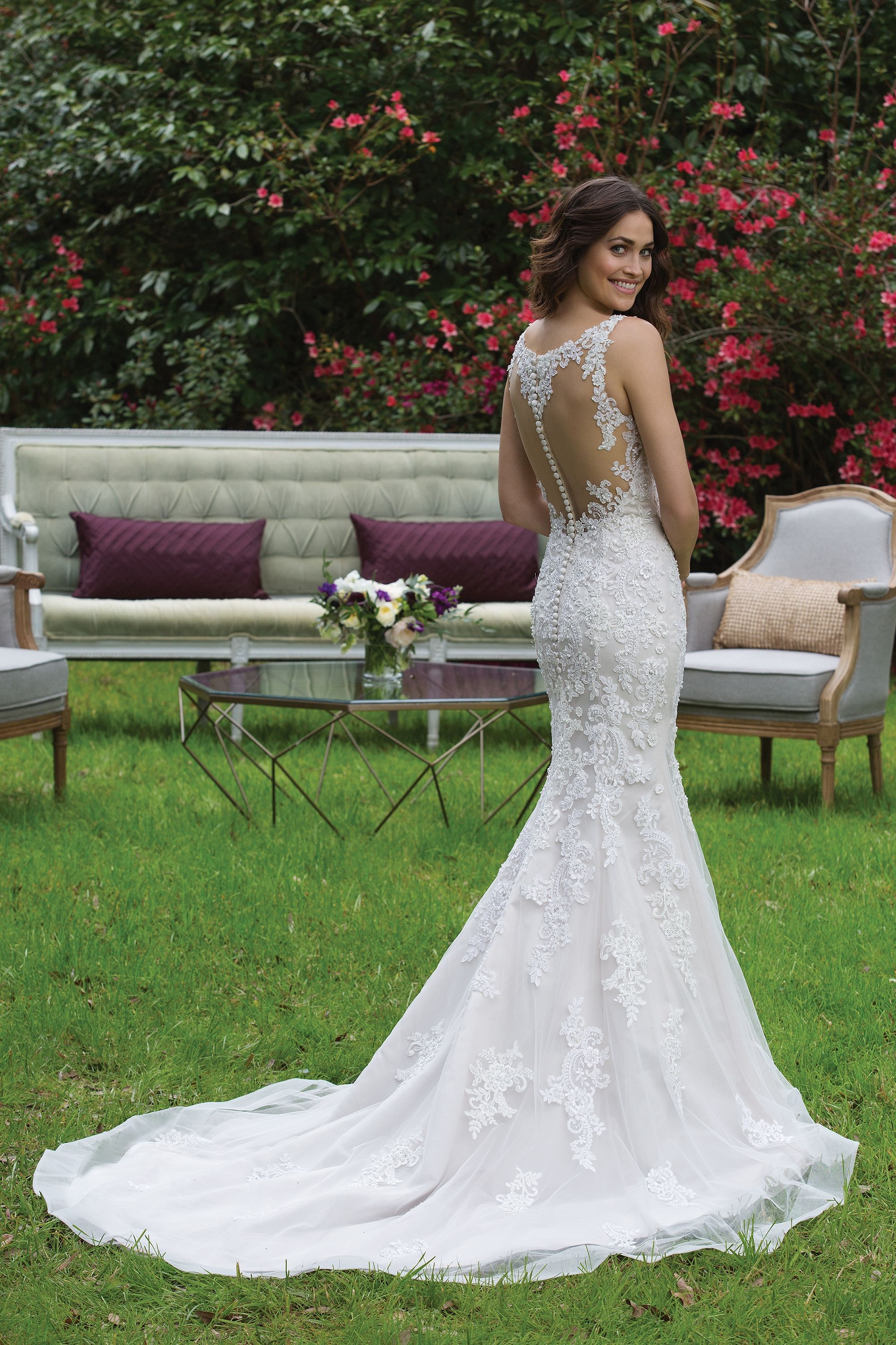 3946 - Fit and flare tulle gown with beaded lace appliques and illusion back