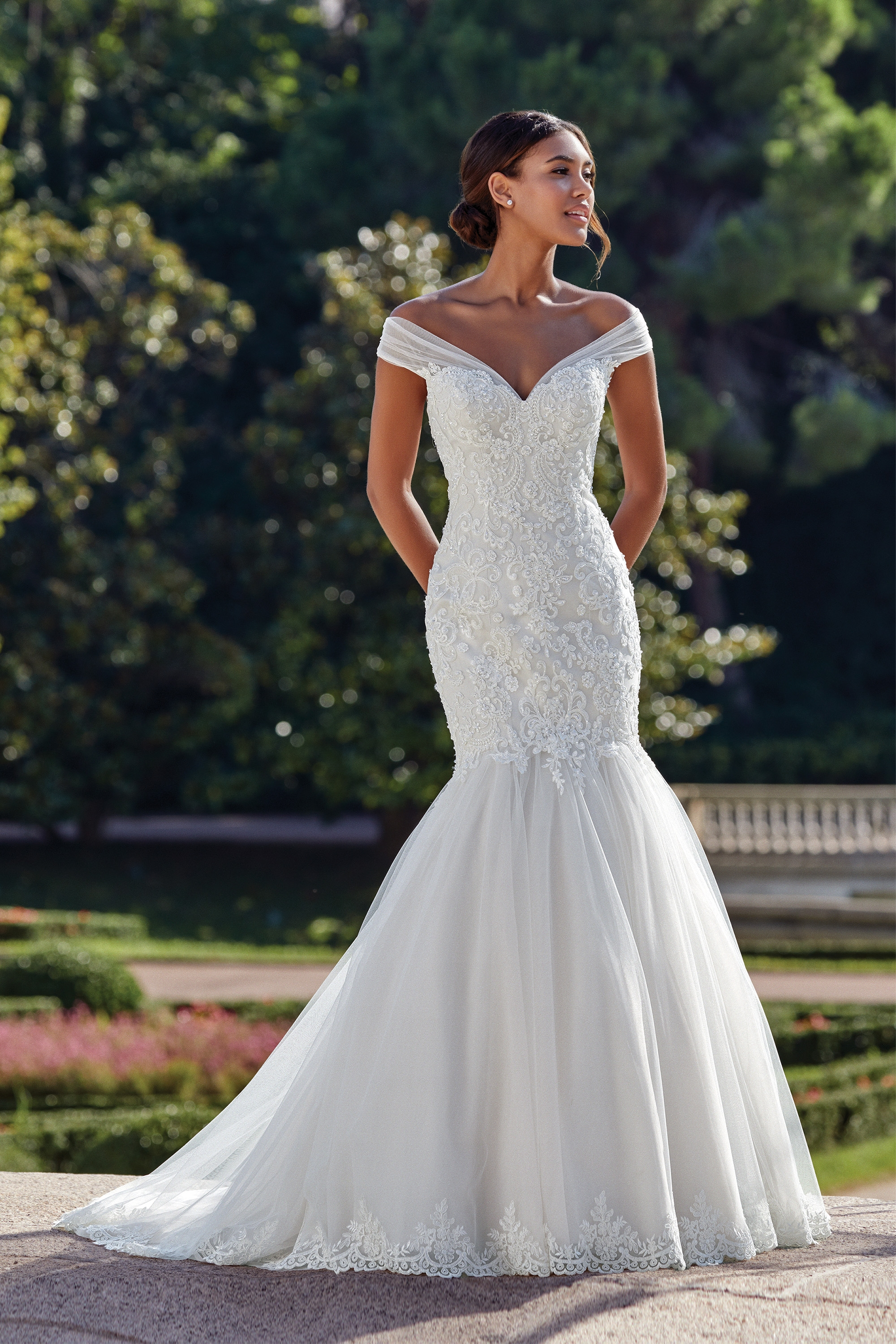 44148 - Sequin, beaded Alecon lace adorns the bodice, mermaid tulle skirt finished with matching lace