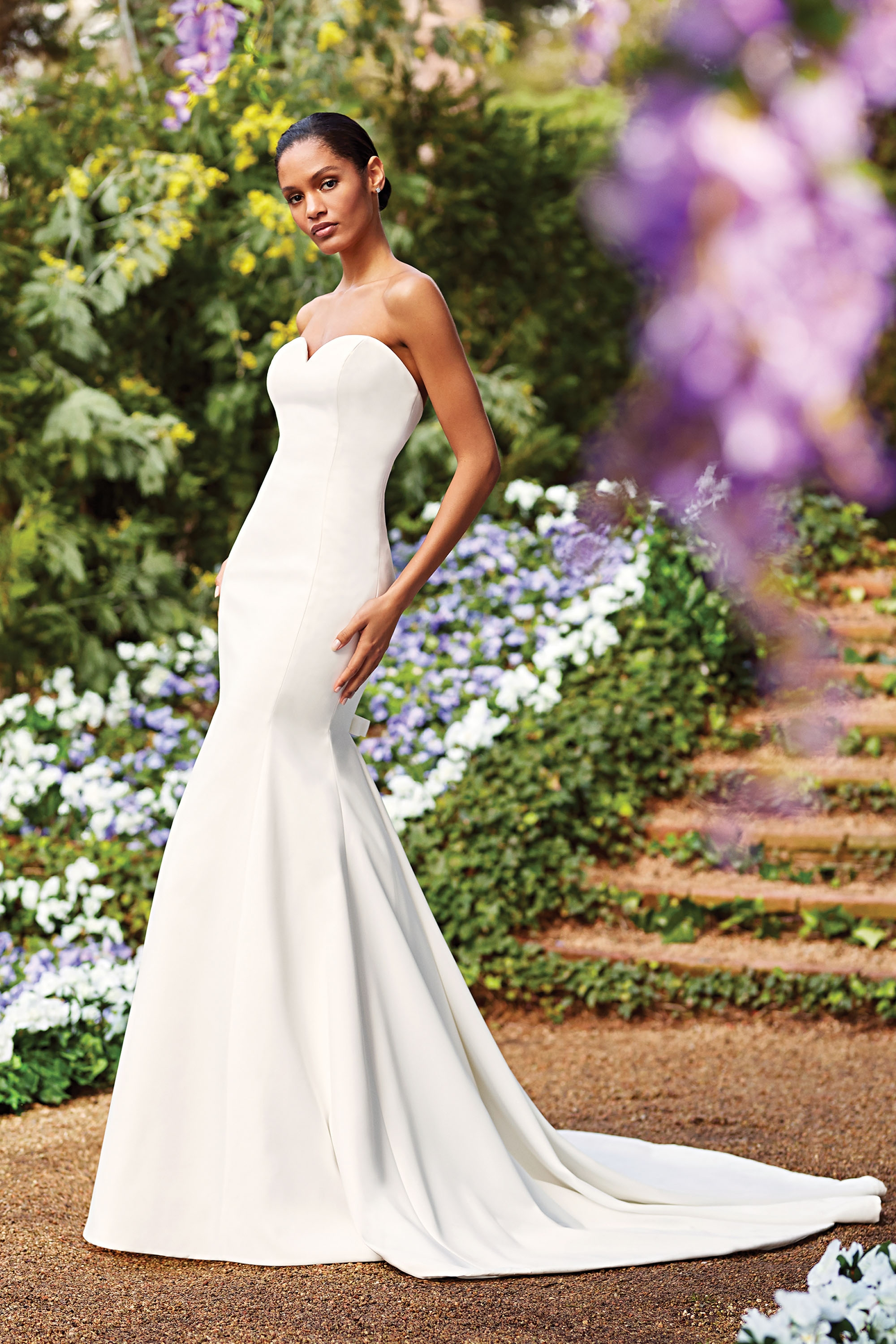44156 - Classic sweetheart lavish satin fit and flare gown, features princess seams and on trend bow