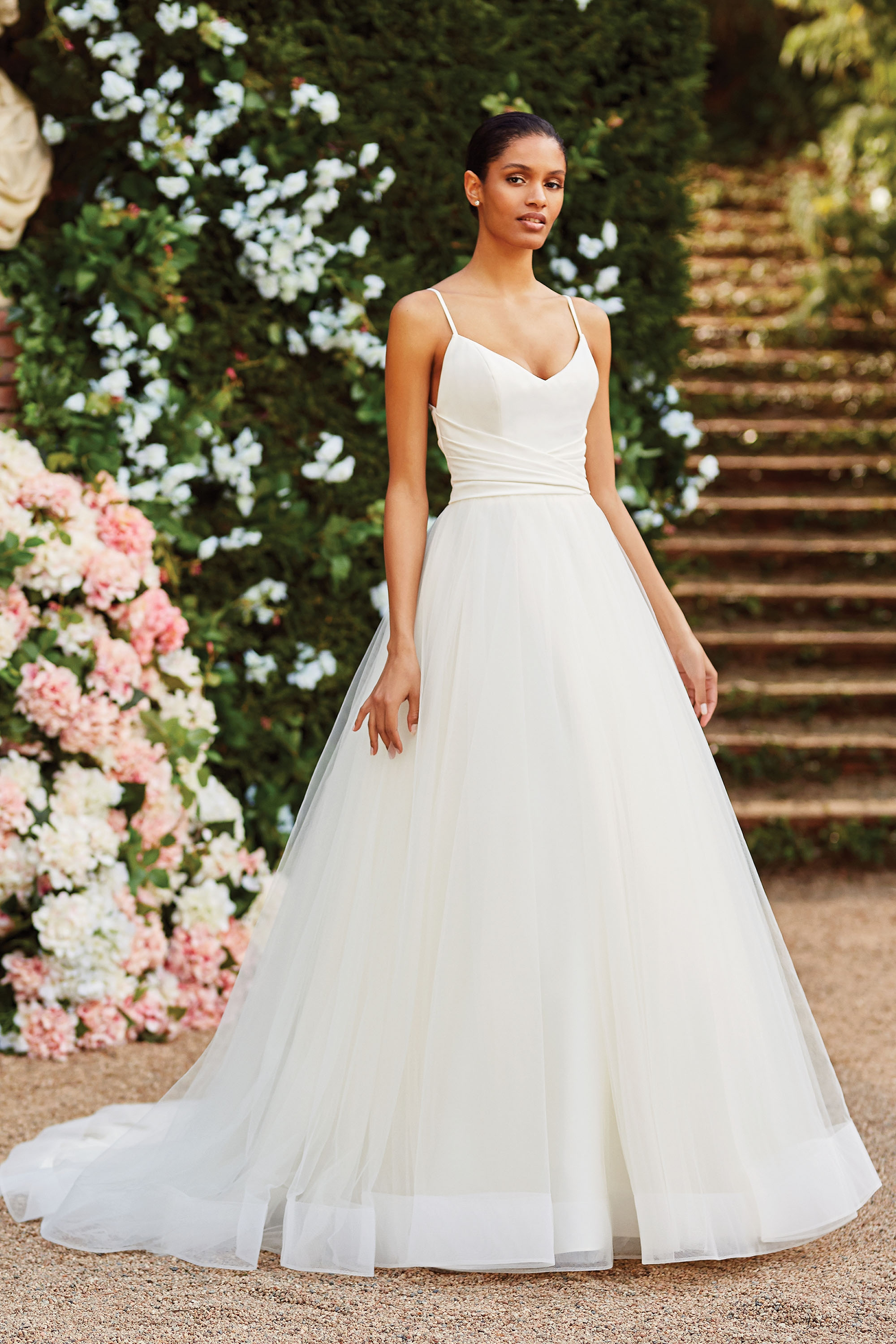 44181 - Simple yet elegant spaghetti tulle ball gown, features satin bodice