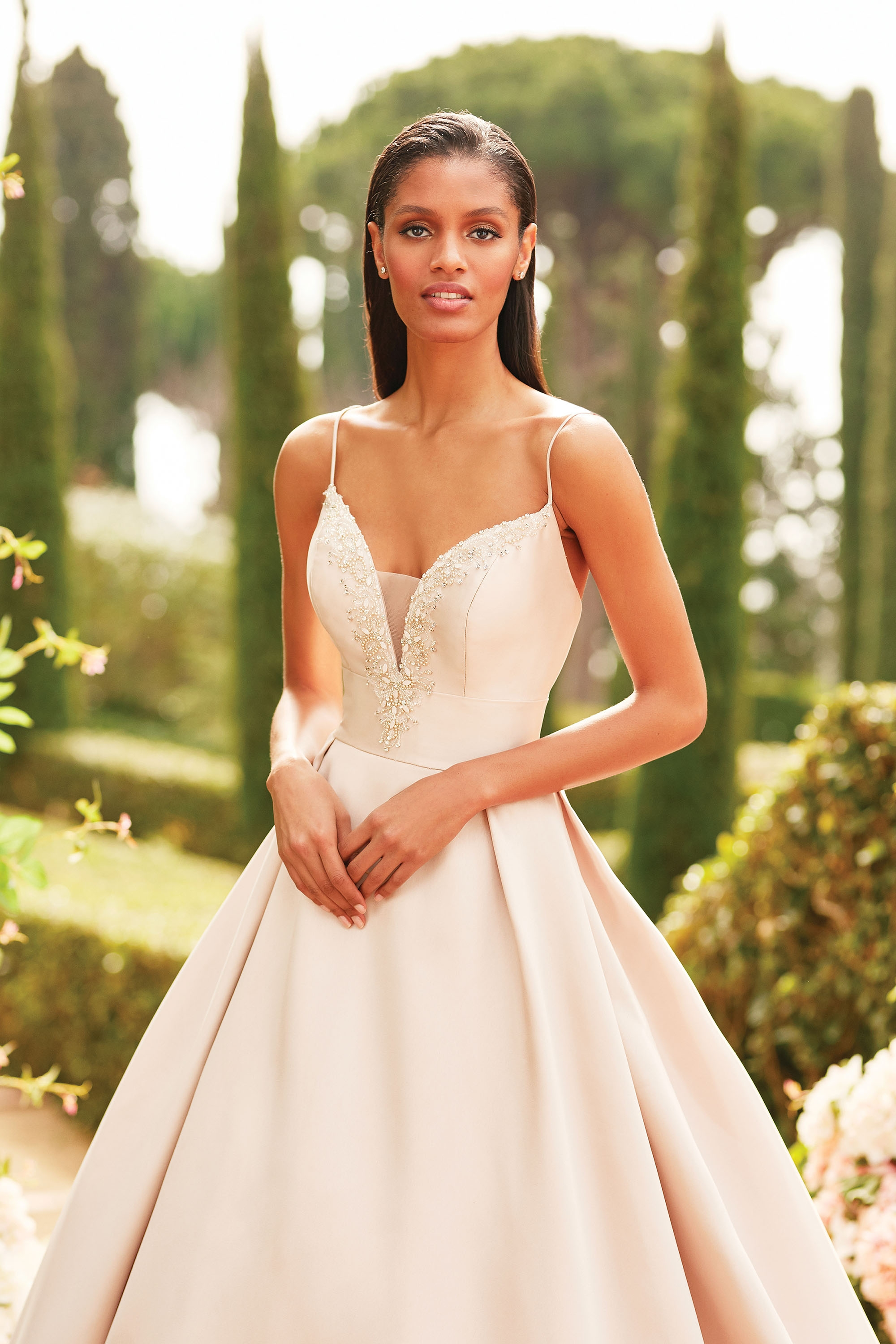 44186 - Mikado ball gown with beaded plunge neckline, modernly royal