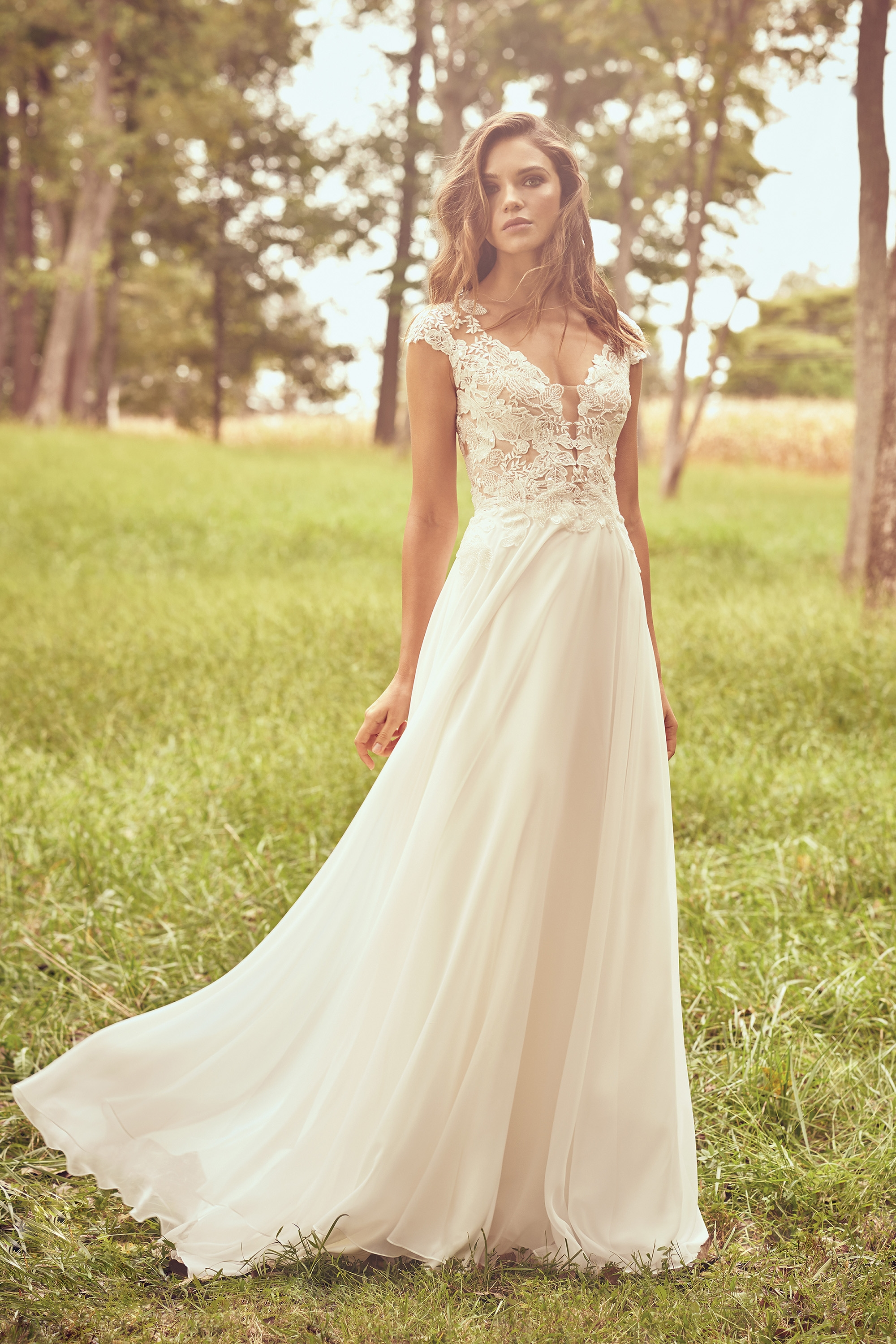 66077 - Chiffon A-line dress with Venice beaded lace bodice featuring Queen Anne neckline