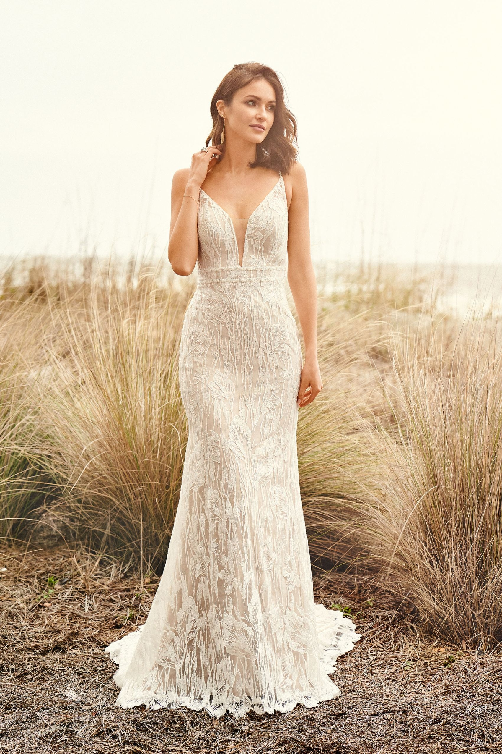 66103 - Allover lace fit and flare gown with sweep length train