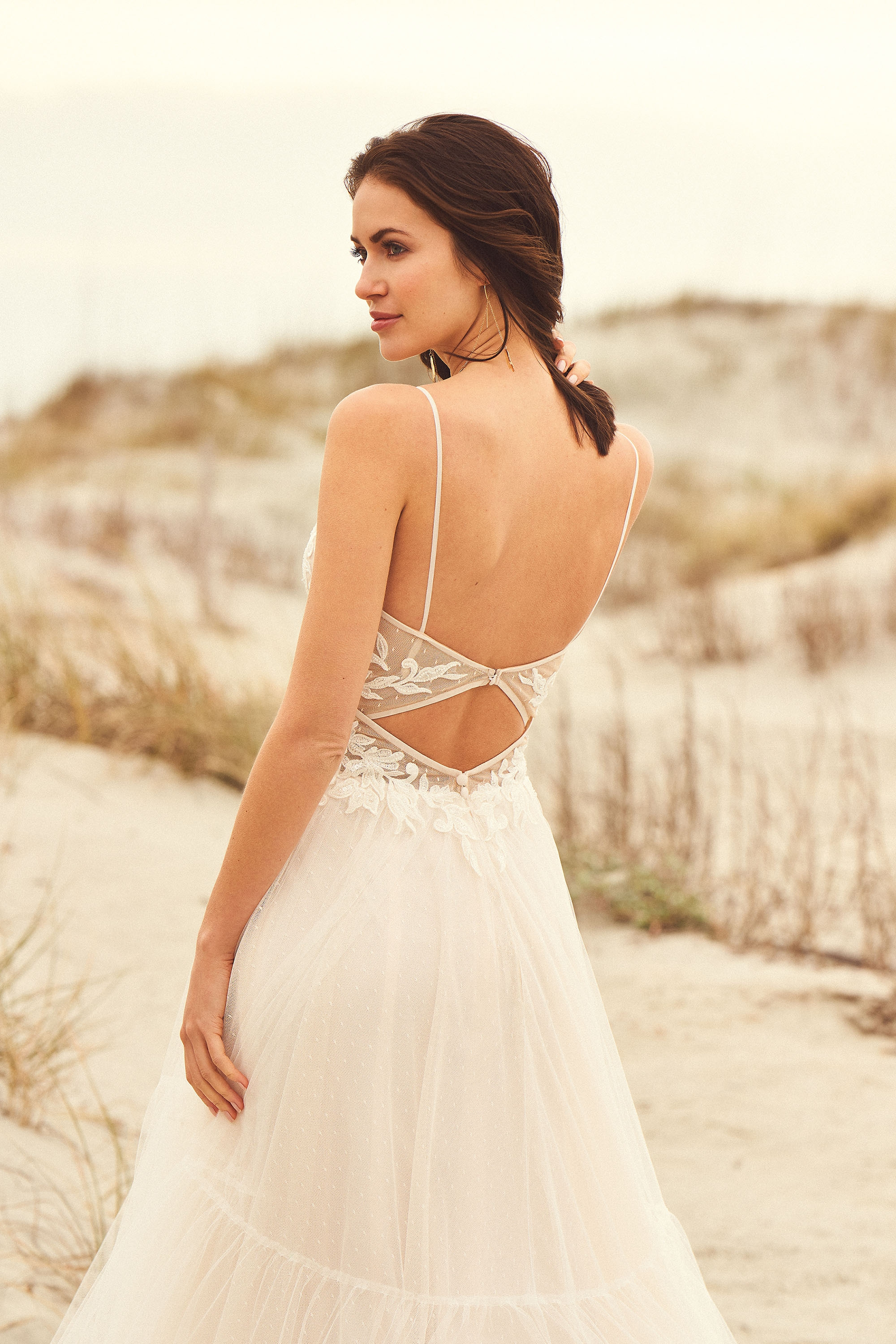66105 - Gathered tulle A-line skirt with illusion bodice and delicate keyhole back